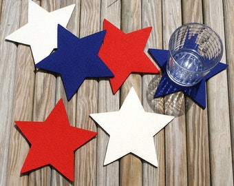 Fourth of July Star Drink Coaster Set Coasters for Drinks Housewarming Hostess Gift 4th of July Independence Day Patriotic Decor Decorations