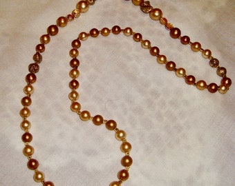 Vintage Chunky Gold Color Beads, Clear Faceted Lucite Necklace