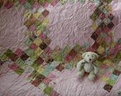 Pretty In Pink Baby Girl Quilt, Irish Chain Girl Quilt, Baby Girl Quilt, Toddler girl Quilt, Flower Quilt, Crib Quilt