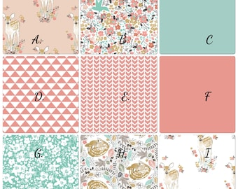Baby Girl Crib Bedding Woodland Fawn Coral Mint