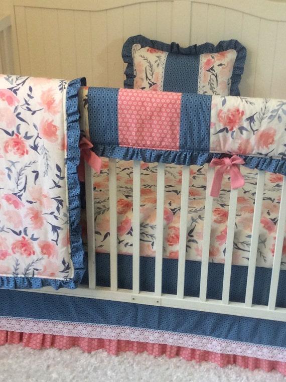 baby girl crib bedding set blush pink coral and navy floral. Black Bedroom Furniture Sets. Home Design Ideas