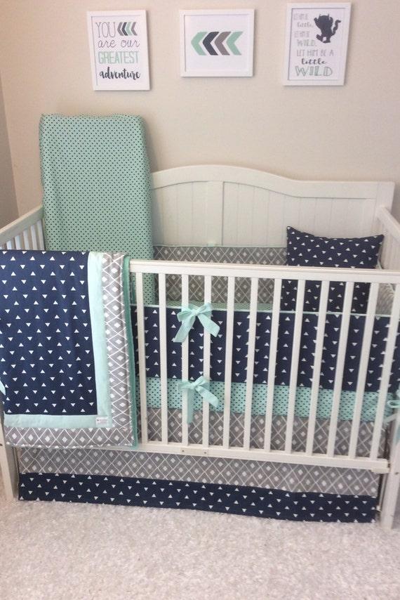 Baby Boy Crib Bedding Set Gray Navy Mint By