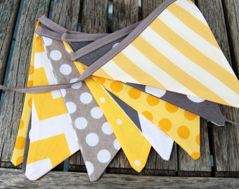 Bunting Banner MINI Flags in Gray & Yellow, Birthday Decoration, Gender Neutral Garland, Modern Pennant, Photo Prop -- Cloth, Fabric
