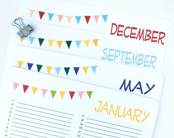 Perpetual Calendar, Wall Calendar - Bunting, Banner, Pendant, Birthday Planner, Organizer - single sheets