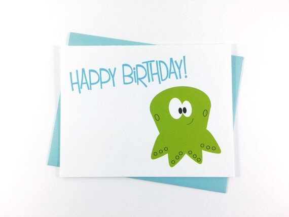 Birthday Card, Happy Birthday Greeting Card, Children's Card, Sea Creature Card, Octopus Card - Single
