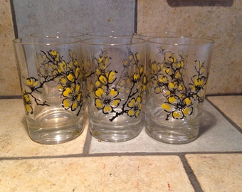 6 Yellow Blossom Juice Glasses