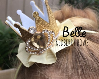 "BELLE CROWN with Rhinestone Crown Embellishment-approximately 2""x2"""