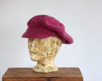 Light raspberry pink Angora St. Michaels Newsboy Indie Hat Cap Beret Lambswool