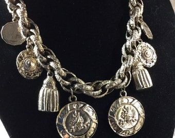Chunky Charm Necklace Gold Tone Metal Coins Tassels Medallions 1970's 1980's Chunky Chain Unsigned
