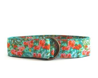 New! Ribbon Belt | Teal Green and PInk Flowers