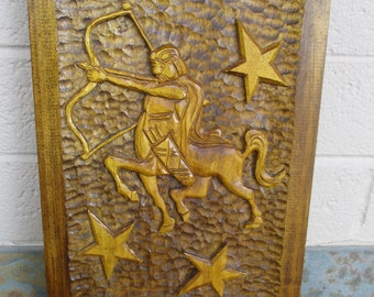 Vintage Sagittarius Relief Wood Carving Plaque Wooden Sculpture Polish Folk Art Hand Carved STRZELEC Zodiac Sign