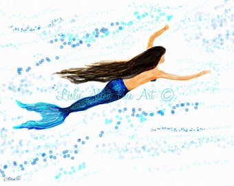 "Watercolor Mermaid Painting Print Beach Decor, Mermaid Art, Mermaid Print, Mermaid Wall Art, Sea   ""In The Open Sea""  Leslie Allen Fine Art"