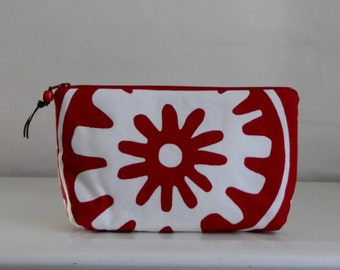 Red Suzani Wide Padded Zipper Pouch Gadget Case Cosmetics Bag - READY TO SHIP