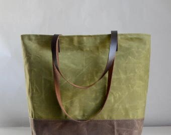 Avocado Waxed Canvas Tote Bag with Leather Straps - Ready to Ship