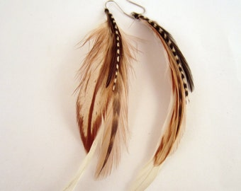 feather earrings hand made Color me natural natural