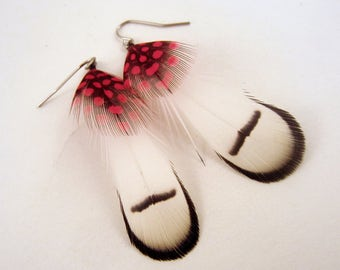 Feather Earrings White Pheant with polka dots