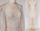 80's / 90's Pink Lace Dress / Victorian Dress / Long Sleeves / Lace Midi Dress / Small
