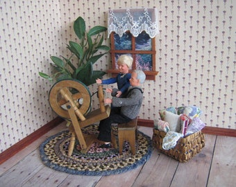 Vintage Dollhouse Miniature Wooden Spinning Wheel, Stool and Basket of Vintage Quilt Scraps, Lace and Fabric- I:12 Scale