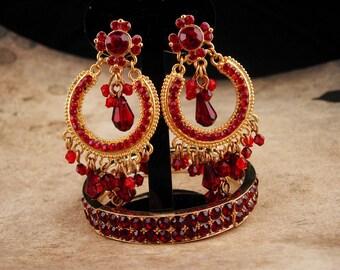 Gypsy earrings / Red Bohemian bracelet / chandelier clip on earrings / garnet red rhinestone set / Gypsy queen of rhinestones
