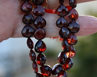 Red Gem Garnet Faceted Heart Straight Drilled 7.5mm Briolette Drop Beads 4 beads set