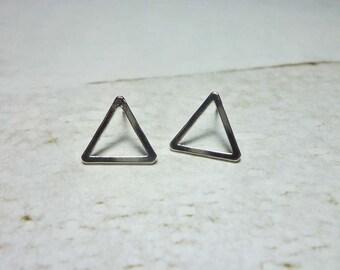 Silver Open Triangle Stud Earrings, Dainty Earrings