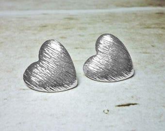 SALE - Texured Heart Stud Earrings