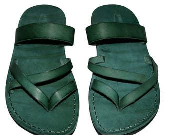 Green Moon Leather Sandals For Men & Women- Handmade Unisex Sandals, Flip Flop Sandals, Jesus Sandals, Genuine Leather Sandals