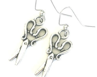 Scissors earrings, antiqued silver, hair stylist jewelry, gift for hairdresser, quilter or sewer, beauty salon