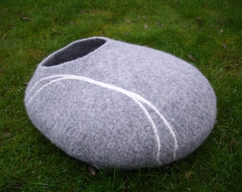 cat cave cat bed cat house  pet bed handmade felted cat cave  grey pebble - large