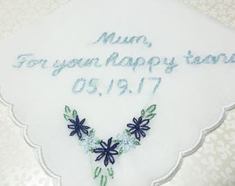 mum or mom hanky, wedding handkerchief, hand embroidered, for happy tears, personalized gift, parent gift, mother of bride or groom, gift