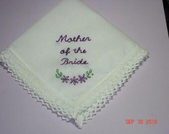 Wedding handkerchief/mother of bride/groom/hand embroidered/wedding colors welcome