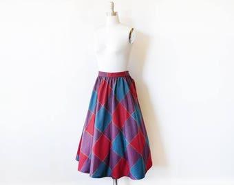 vintage 70s skirt, 1970s plaid wool skirt, full midi skirt with side buttons, medium m