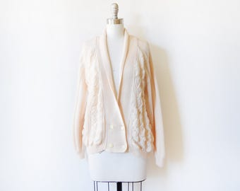 vintage cream cable knit cardigan, 80s soft cream sweater, slouchy cardigan sweater, large l