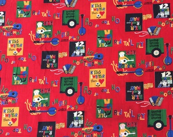 Amazing Vintage Folk Music, Hootenanny Novelty Fabric Retro, Hippie 60's for Clothing, Tote Bags, Sewing, Crafts and Projects