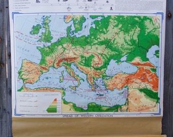 Vintage School Maps: Spread of Western Civilization & The Beginning of Western Civilization
