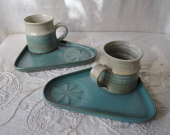 Two Sea Foam Blue Bennington Mug Trays/Vintage 1970s/Bennington Potters Trays/Fireside Bedside Tray Blue Green Plates