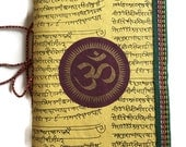Indian OM, Yellow Journal, Blank Diary, brother gift, Room mate gift, Boss gift, Handmade Paper, Junk journal, handmade journal,school diary