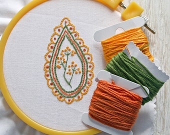 Crewel Embroidery Kit Embroidery Pattern pdf Kit orange leaf yarrow flower Digital Pattern,  digital pattern kit, Prairie Garden