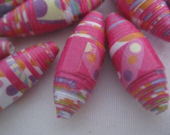 Paper beads, summer splash colors, hand made, 25 beads, jewelry making