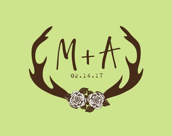 Wedding Stamp   Custom Wedding Stamp   Custom Rubber Stamp   Custom Stamp   Personalized Stamp   Antlers with Flowers   C430
