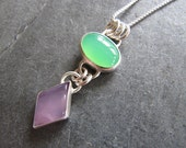 Feminine Pendant of Chrysoprase and Holley Blue in Sterling Silver