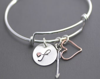 Silver Bangle Bracelet, Adjustable Bangle, Initial Charm Bracelet, Heart Bracelet, Arrow Bracelet, Custom Initial Bracelet, Sterling Bangle