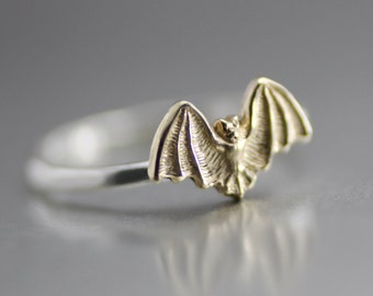 Bat Ring, Sterling Stack Ring, Hammered Ring, Gold Bat Ring, Silver Ring, Halloween Ring, Bat Stack Ring