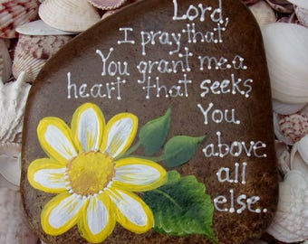 Hand Painted Idaho Rock-Acrylic Original,White & Yellow Daisy, Inspirational-Paper weight-Seek the Lord