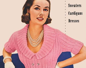 Vintage Knitting Crochet PDF Patterns Jeweled Studded Sweaters Jackets Suits Cardigans Dresses Instant PDF e Pattern Book Digital Download