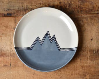SALE! Salad plate in Gray Mountains (round edge) -Ready To Ship