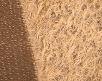 Mohair fabric for teddy bears, Intercal 325 s/cm color 340 with Curly Light Color Fibers on a Dark Backing