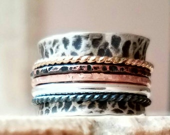 Extra Wide Band Spinner Antique Spinner Ring Rose Gold Spinner Copper and Sterling Silver Multi Metal Spinner Fidget Ring