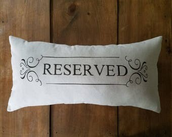 Reserved pillow - lumbar pillow - cushion - reserved for - mom - dad - gift - wedding - engagement - anniversary - housewarming