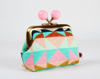 Metal frame coin purse with color bobbles - Overlook Serape in pastel - Color mum / Cotton and Steel / Alexia Abegg / pink ochre blue navy